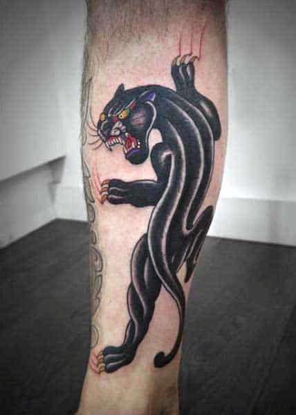 Classic Panther Tattoo On Man On Forearm