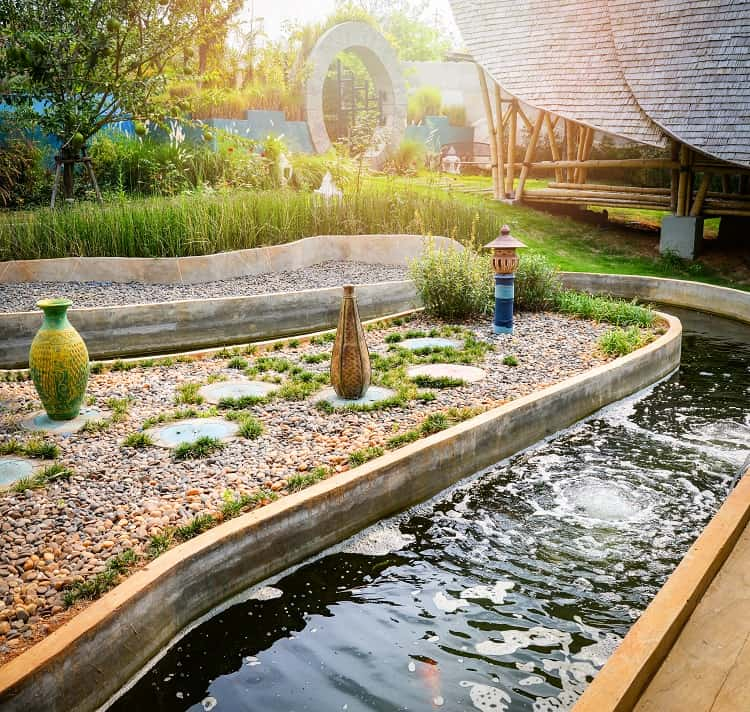 Beautiful Water Pond In The Garden Classic Round Design For Fish Pond