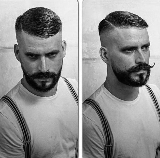 Classic Short Fade Haircut For Males Comb Over
