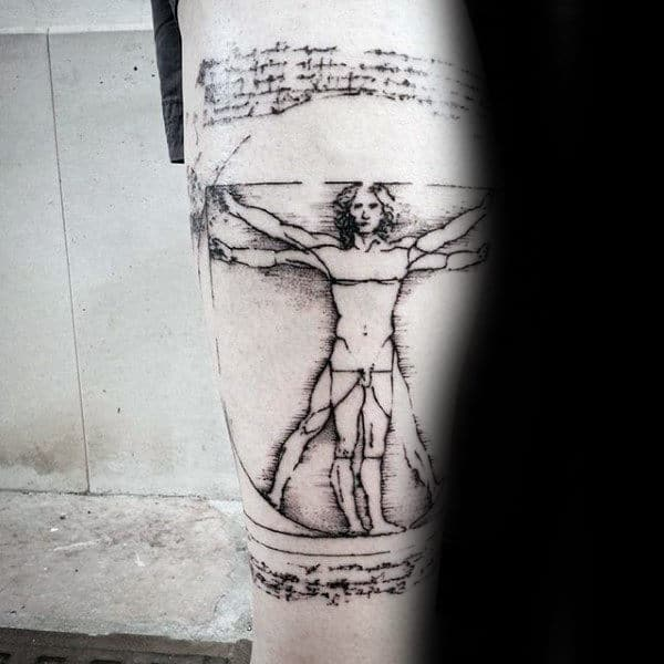 Classic Vitruvian Man Tattoo On Guys Forearms