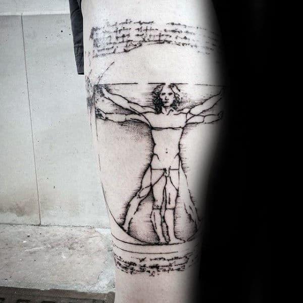 Classic Vitruvian Man Tattoo On Guys Forearms