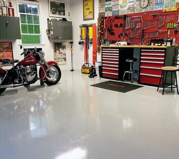 Classic White Paint Sealed Garage Flooring Design Inspiration