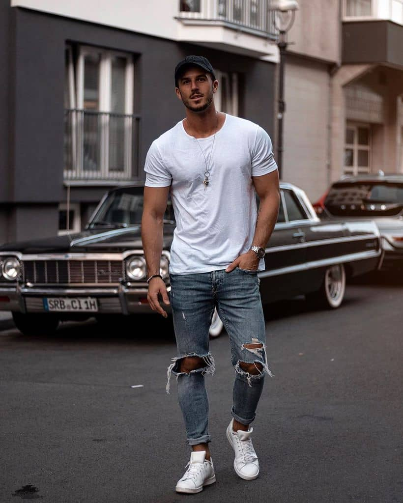 Classic White Shirt Ripped Jeans Style