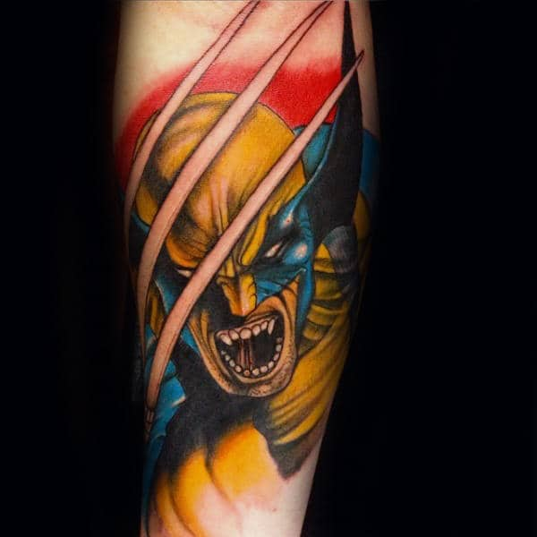 Classic Wolverine Mens Inner Forearm Tattoos