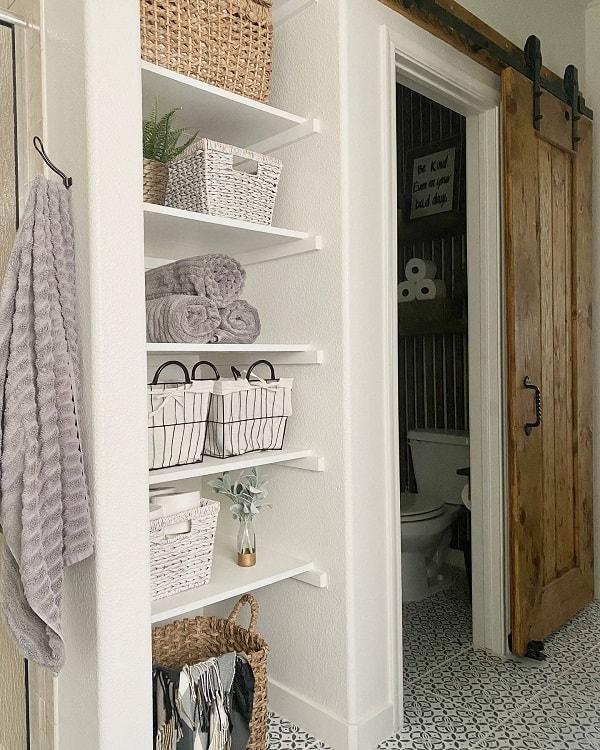 Classic Wooden Bathroom Barn Door