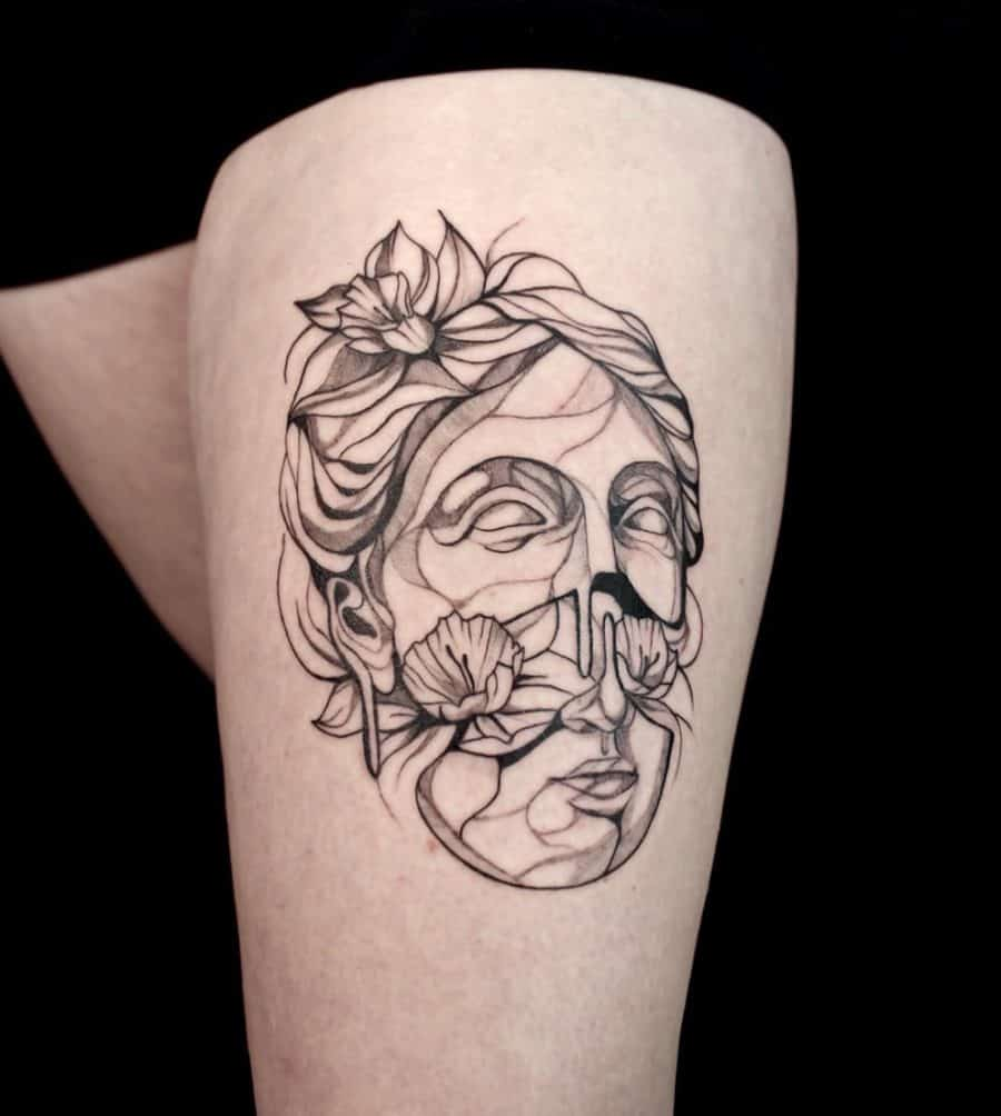 Classical Face Pulled In Half Surrounded By Flowers Abstract Daffodil Tattoo