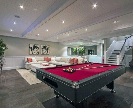 Classy Basement Design With Pool Table