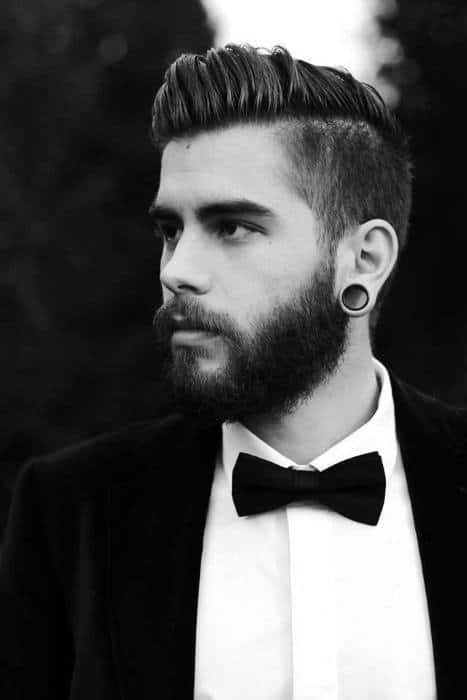Classy Dapper Mens Short Medium Undercut Haircut With Beard