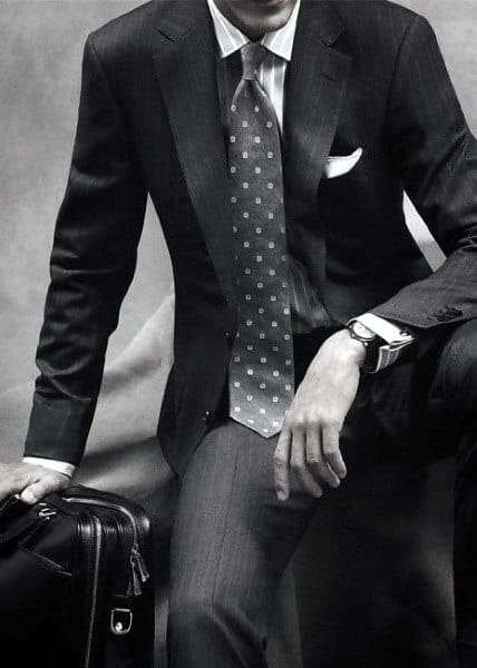 Classy Male Black Suit Styles With Grey Dot Tie