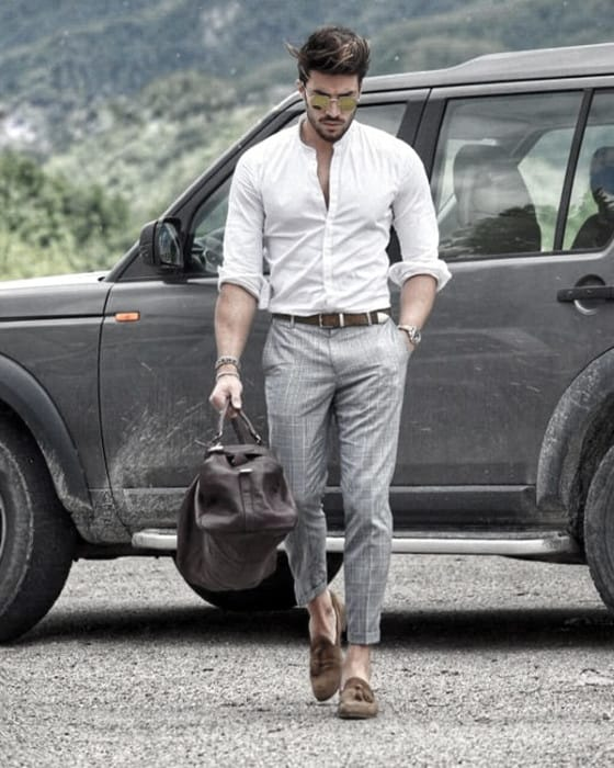 Classy Male Business Casual Outfits Styles White Dress Shirt With Grey Pants