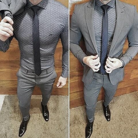 Classy Male Charcoal Grey Suit Black Shoes With Polda Dot Dress Shirt Styles