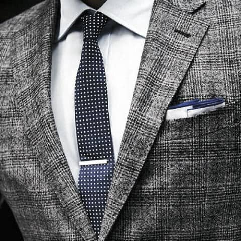 Classy Male Grey Suit Styles With Polka Dot Blue Tie And Pocket Square