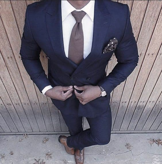 Classy Male Navy Blue Suit Brown Shoes And Tie Styles