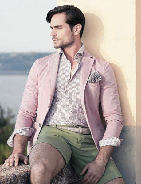 Classy Male Summer Outfits Styles Pink Blazer With Green Shorts