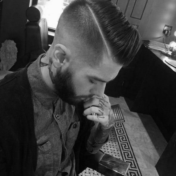 Classy Mens Hard Part Hairstyle