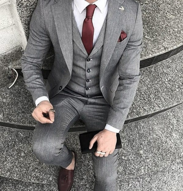 Classy Mens Red Tie And Pocket Square Light Grey Suit Brown Shoes Styles