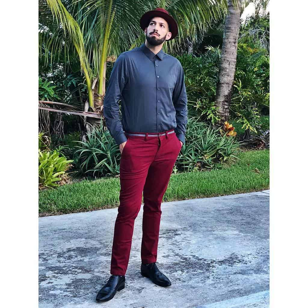 Classy Red Pants Hat Mens Wear