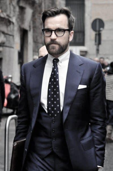 Classy Three Peice Suit Navy Blue Mens Styles