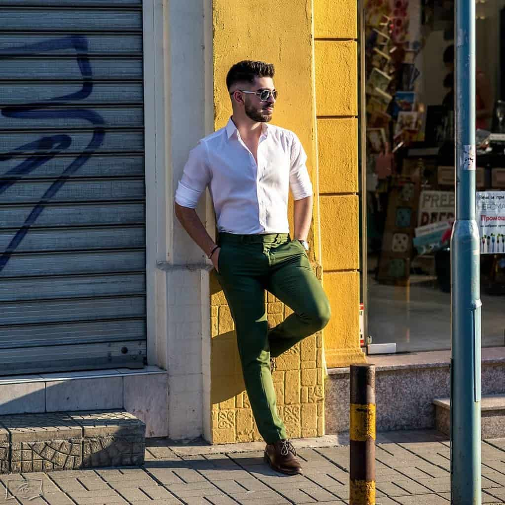 Classy White Green Pants Outfit