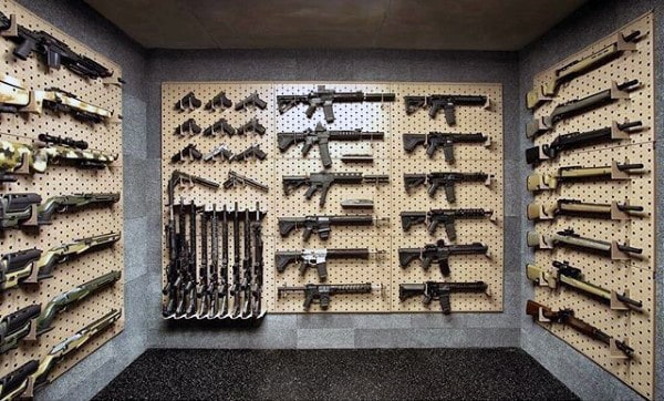 Clean Gun Room Design Ideas With Wall Shelves