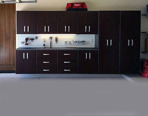 Clean Organized Cabinet Design For Garage Storage