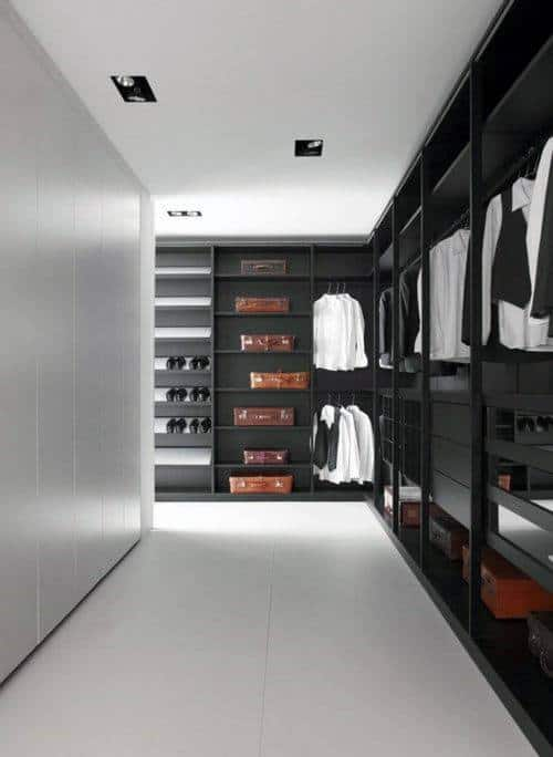 Clean Simplistic Mens Walk In Closet With White Tile Flooring