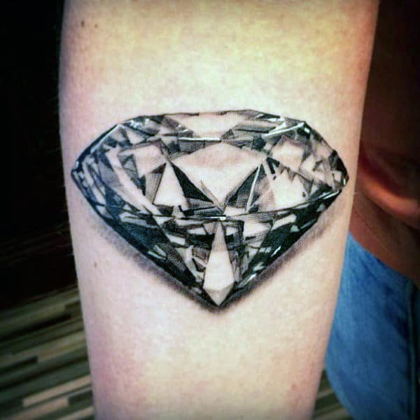 Clear Colorless Diamond Realistic 3d Tattoo On Mans Arm