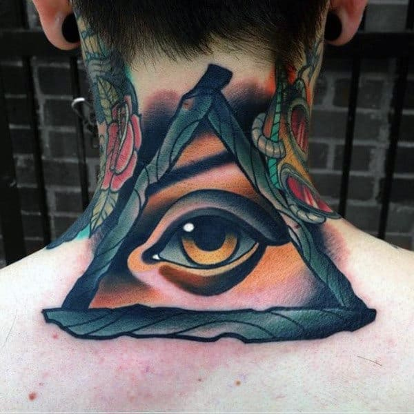 Clear Eye Inside Triangle Tattoo Mens Neck