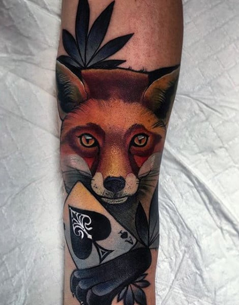 Clear Eyed Fox With Ace Card Tattoo Guys Forearms