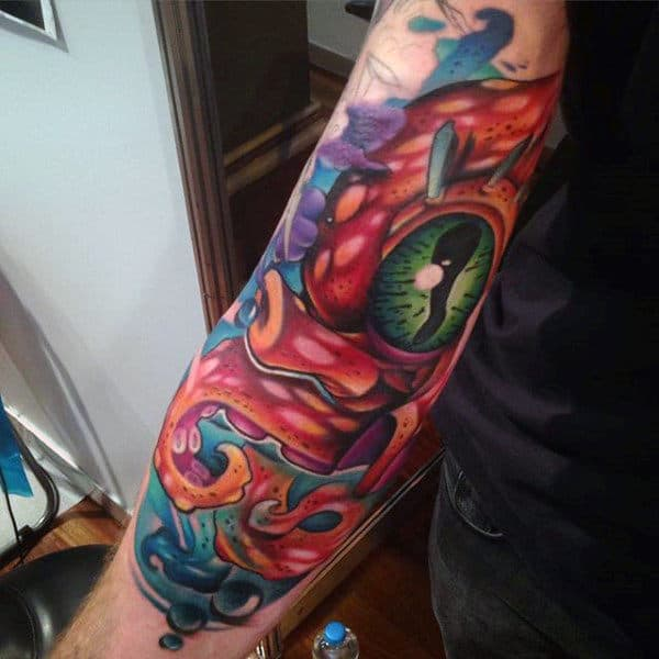 Clear Green Eye New School Tattoo Male Forearms
