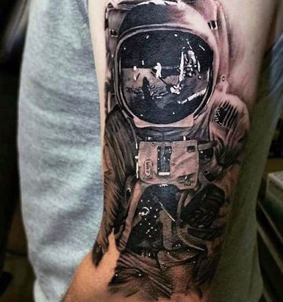 Clear Grey Black Astronaut Reflection Tattoo Guys Forearms