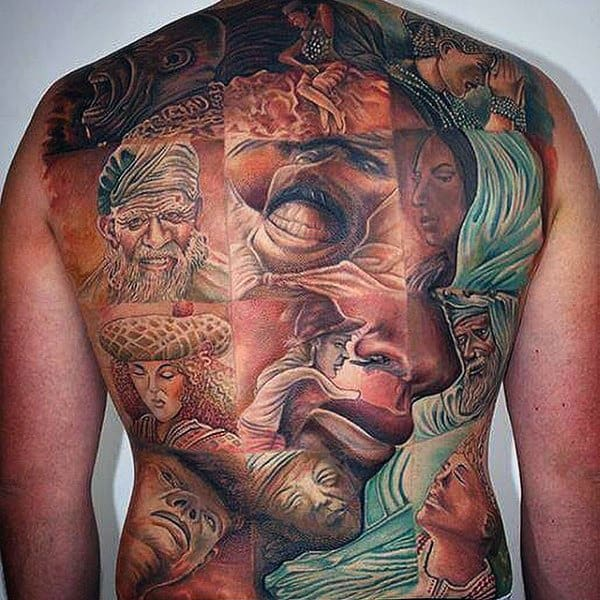 980074367 Clever Portrayal Of Lady Face With Independant Portraits Tattoo Mens Full  Back