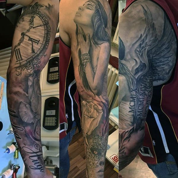 Clock And Angel Tattoos For Men