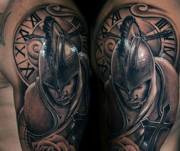Warrior Clock And Compass Tattoo For Males