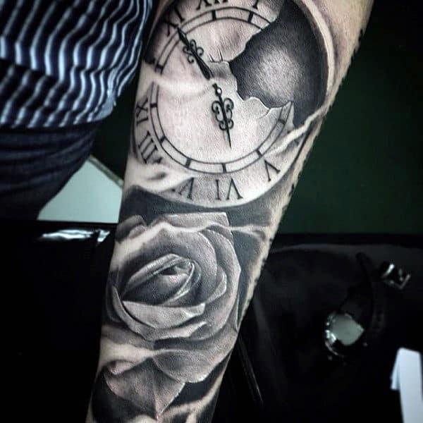 Clock And Rose Flower Men's Tattoo