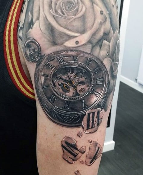 Clock And Roses Tattoo For Men