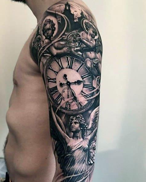Clock Black Ink Mens Full Sleve Tattoos