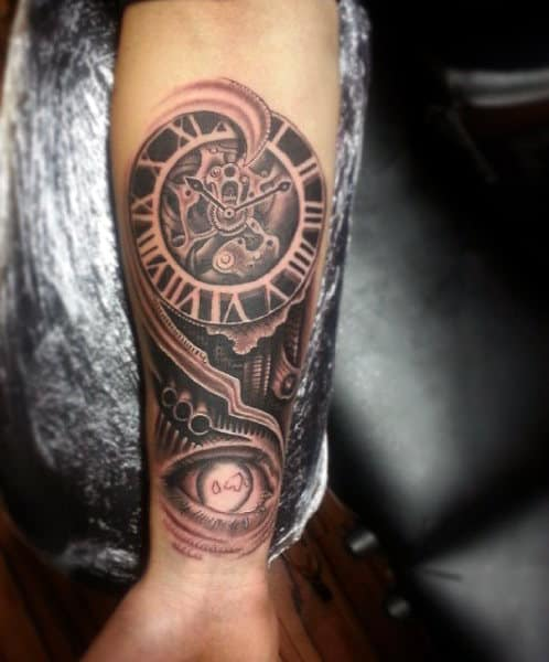 Clock Gear Men's Wrist Tattoo Ideas
