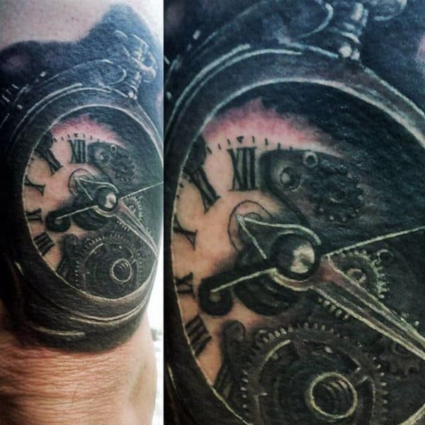 Clock Men's Chest Tattoo