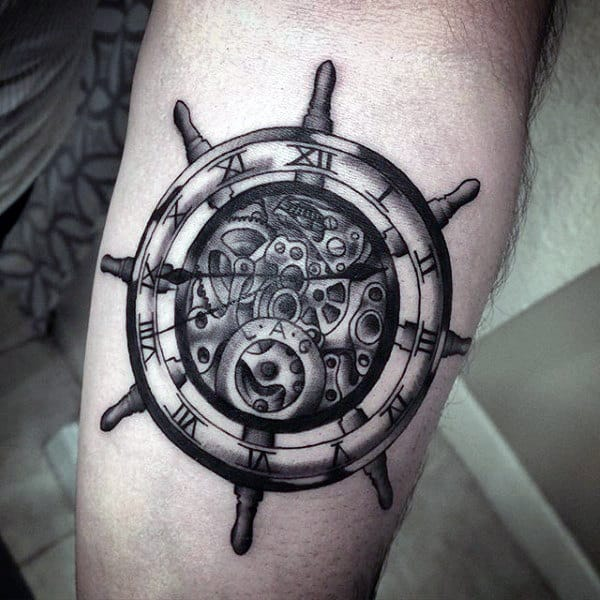 Clock Ship Wheel Design Mens Tattoos