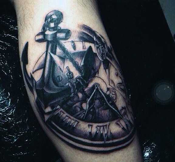 Clock Tattoo Design For Males