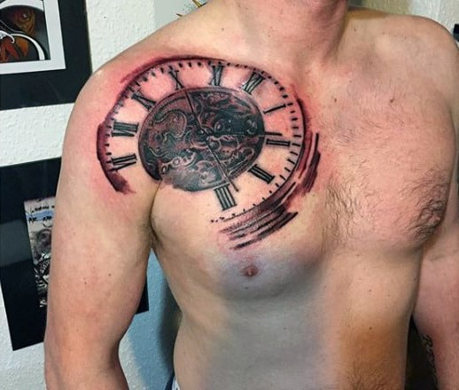 Clock Tattoo Chest Mens