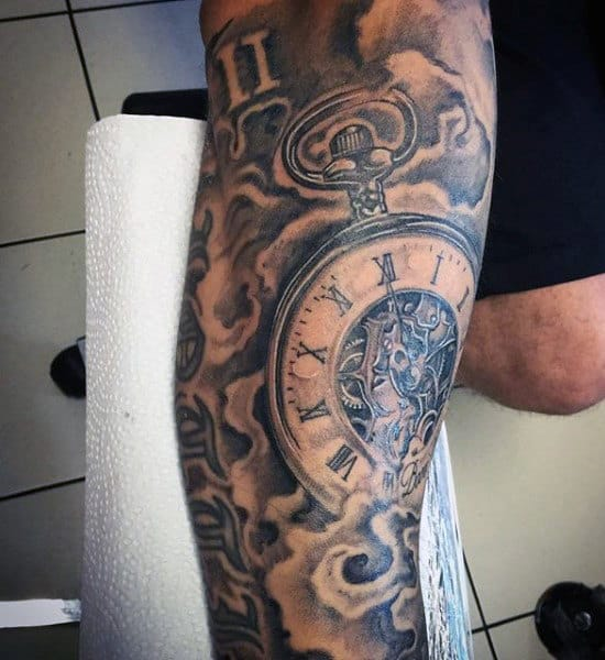 Leg Clock Tattoos For Men