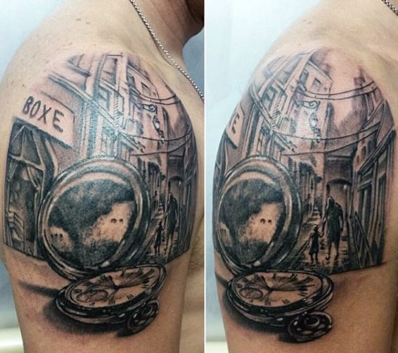 Shoulder Clock Tattoos Ideas Men