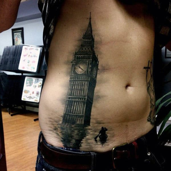 Clock Tower Guys Stomach Tattoos With Realistic Water And Boat
