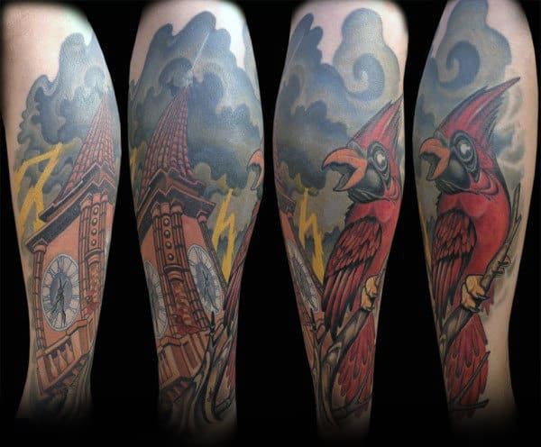 Clock Tower With Stormy Clouds And Cardinal Bird Mens Arm Tattoos