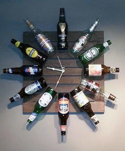 Clock With Beer Bottles Diy Man Cave Ideas