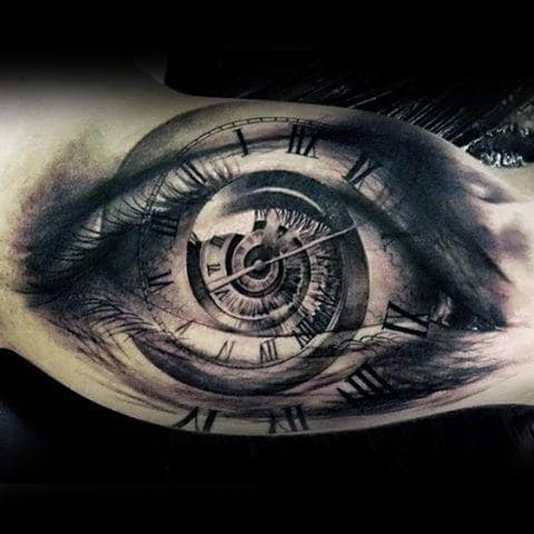 Clock With Eye Tattoo On Inner Arm Of Man