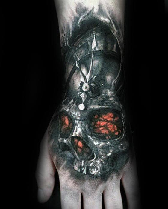 Clock With Orange Glowing Skull Guys 3d Hand Tattoo