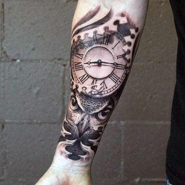 Clock With Owl Inner Forearm Mens Tatoos